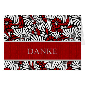 Thank You German Informal Greeting - Red and Whit Greeting Card