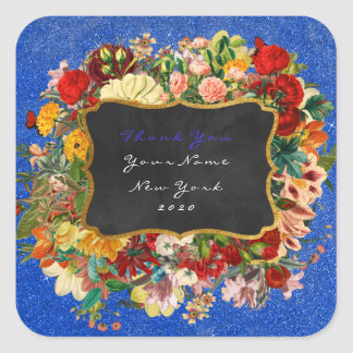 Thank You Gift Baroque Cobalt Glitter Roses Floral Square Sticker