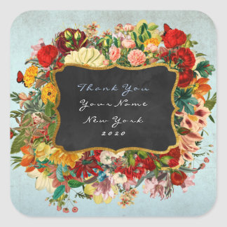 Thank You Gift Baroque Grungy Blue Gray Floral Square Sticker