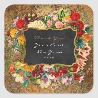 Thank You Gift Baroque Grungy Gold Gray Floral Square Sticker