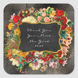 Thank You Gift Baroque Grungy Metallic Gray Floral Square Sticker