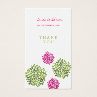 Thank You Gift Favor Tags Pink & Green Blooms