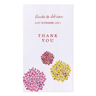 Thank You Gift Favor Tags Red Pink Yellow Blooms Business Cards