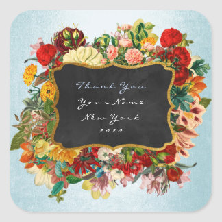 Thank You Gift Label Silver Blue  Baroque Floral Square Sticker