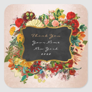 Thank You Gift Label Silver Peach Baroque Floral