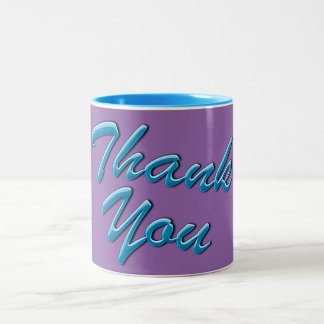 """Thank You"" Gift Mug in Blue and Purple"