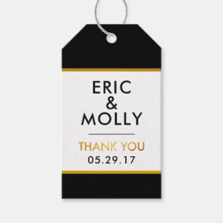 THANK YOU Gift Tags Wedding Favors Black Faux Gold