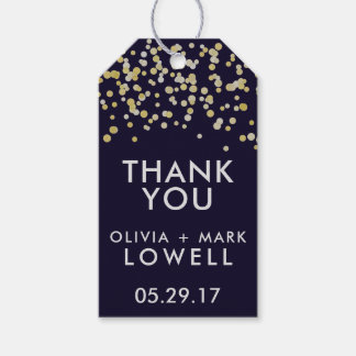 THANK YOU Gift Tags Wedding Favors Confetti Gold