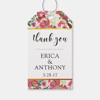 THANK YOU Gift Tags Wedding Favors Floral GOLD