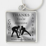 Thank You Gifts for Wrestling Coaches PERSONALIZED Silver-Colored Square Key Ring
