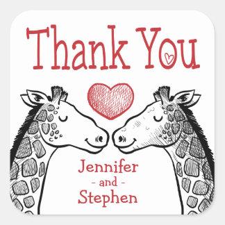 Thank You Giraffe Black, Red Burgundy Wedding Square Sticker