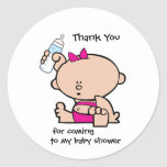 Thank You Girl Baby Shower Gift Tag Sticker