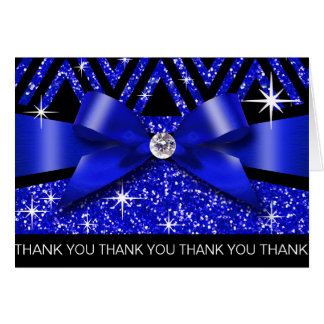Thank you Glitter Chevron Bling Diamond sapphire Greeting Card