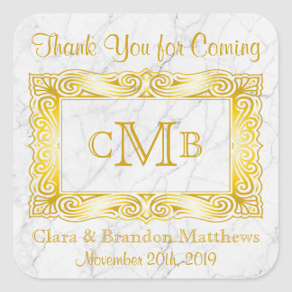 Thank You Gold Classic Monogram Frame White Marble Square Sticker