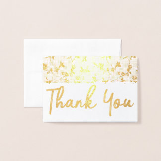 Thank you Gold Foil Card Floral Pattern