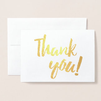 Thank You Gold Foil White Brush Brushstroke Script Foil Card