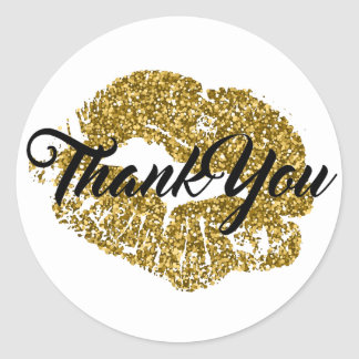 Thank You Gold Glitter Lips Round Sticker