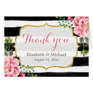 Thank You Gold Glitter Watercolor Floral Stripes Note Card
