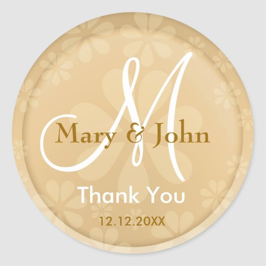 Thank You Gold Monogrammed Wedding Stickers