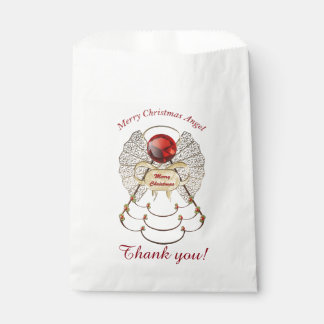 """""""Thank you"""" Gold/Red Merry Christmas Angel Favour Bags"""