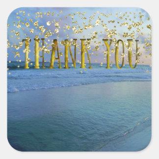Thank You Gold Seascape Square Sticker
