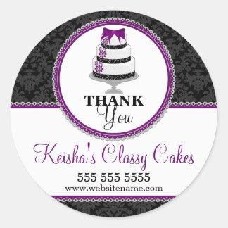 Thank You Gourmet Cake Bakery Box Seals Round Sticker