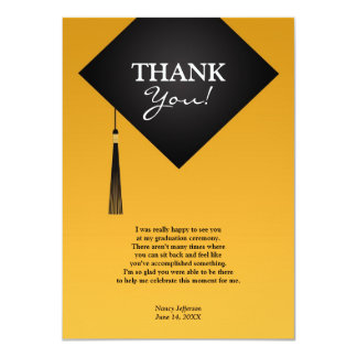 Thank You Graduation Black Hat Flat Card
