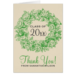 Thank You Graduation Vintage Roses Green Greeting Card