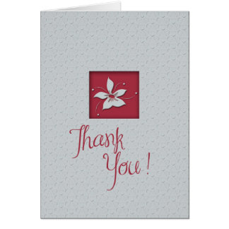 Thank You Gray  Maroon Greeting Card