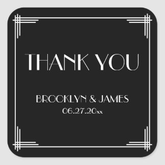 Thank You Great Gatsby Art Deco Wedding Stickers