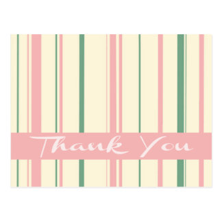 Thank You Green and Pink Blush Stripe Postcard
