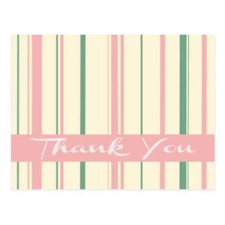 Thank You Green and Pink Blush Stripe Postcard