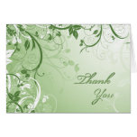 Thank You Green Floral Greeting Card