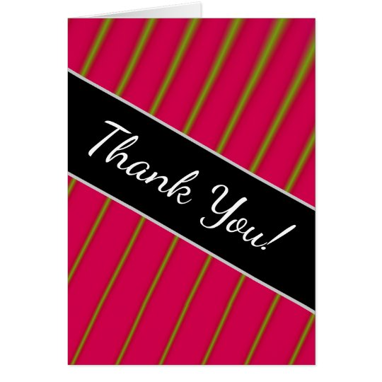 """Thank You!"" + Green Lines on Crimson Pattern Card"