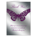 Thank You Greeting Card Butterfly Purple Silver