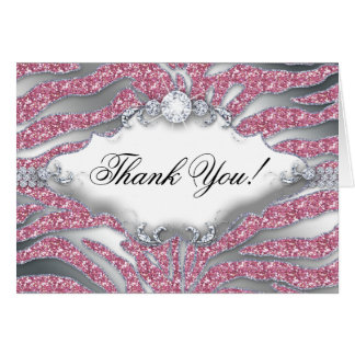 Thank You Greeting Card Zebra Sparkle Pink Silver