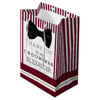 Thank You Groomsman Name With Bow Tie Custom Color Medium Gift Bag