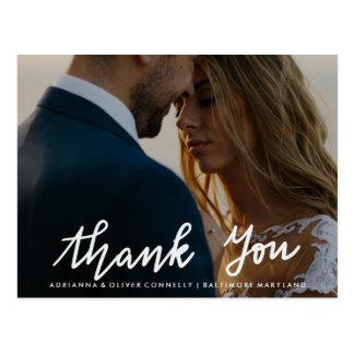 Thank You Handwritten White Script | Couple Photo Postcard