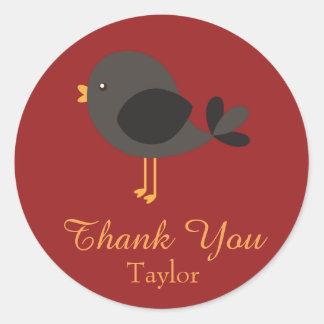 Thank You Happy Black Robin Classic Round Sticker