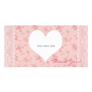Thank You Heart Flowers Lace Photo Card Template