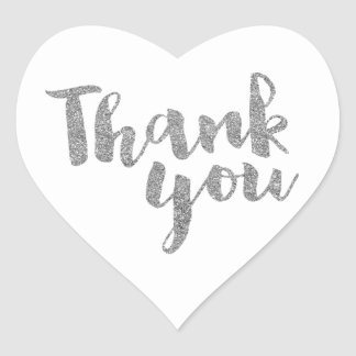 THANK YOU HEART SEAL modern script silver glitter Heart Sticker