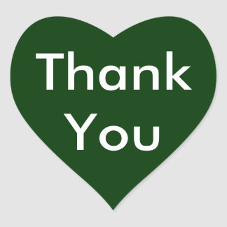 Thank You Heart Stickers on Dark Green Background