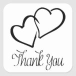 Thank You Hearts Black & White Wedding Stickers