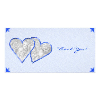 Thank You Hearts Blue Damask Photo Card Template