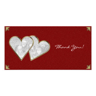Thank You Hearts Gold Damask Photo Card Template
