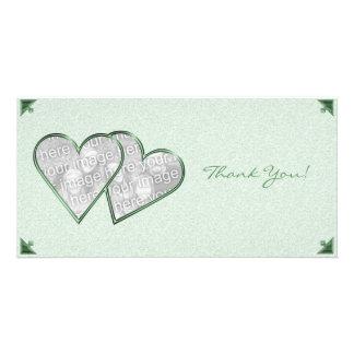 Thank You Hearts Green Damask Photo Card Template