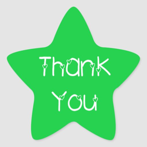 Thank You Hearts Green Wedding Stickers
