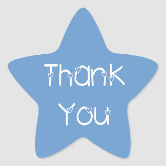 Thank You Hearts Sky Blue Wedding Stickers