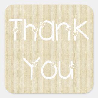 Thank You & Hearts Wood Tan Stripe Sticker