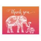 Thank you - Henna Elephant Postcard